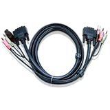 (€7,98*/1m) 5.00m ATEN Technology KVM Verbindungskabel DVI 18+1 Stecker + USB A + 2x3.5mm auf DVI 18+1 Stecker + USB B + 2x3.5mm Schwarz