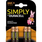 Duracell Simply LR03 Alkaline AAA Micro Batterie 1.5 V 4er Pack
