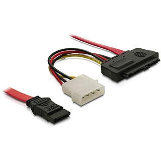 """(€13,80*/1m) 0.50m Delock SAS Adapterkabel SATA Stecker auf SFF-8482 Stecker + 5,25"""" Molex Strom Stecker Schwarz"""
