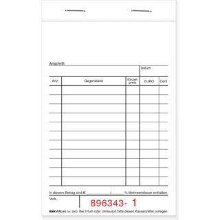 RNK Verlag Kassenblock 96x167mm 2x50 Blatt einfarbig