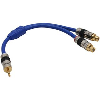 (€35,60*/1m) 0.25m InLine Audio Adapterkabel Premium-Line 3.5mm Klinken-Stecker auf 2xCinch Buchse Blau vergoldet