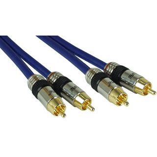 (€2,84*/1m) 7.00m InLine Audio Anschlusskabel Premium-Line 2xCinch Stecker auf 2xCinch Stecker Blau vergoldet