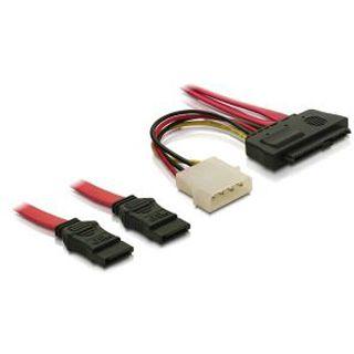 """0.50m Delock SAS Adapterkabel 2xSATA Stecker auf SFF-8482 Stecker + 5,25"""" Molex Strom Stecker Schwarz"""