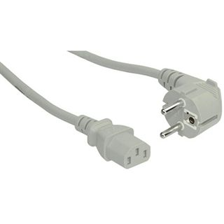 (€3,27*/1m) 1.50m InLine Stromkabel gewinkelt Schutzkontakt Stecker auf Kaltgeräte Stecker C13 Grau