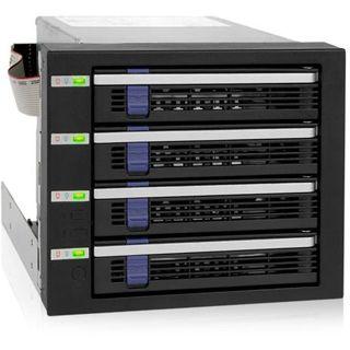 """Icy Dock schwarzer 3x5,25"""" Wechselrahmen für 4x 3.5"""" Festplatten (MB154SP-B)"""