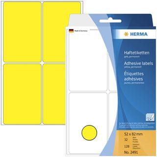 Herma 2491 gelb Vielzwecketiketten 5.2x8.2 cm (32 Blatt (128 Etiketten))