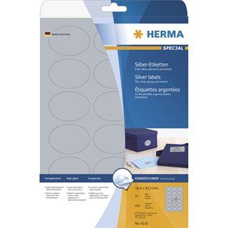 Herma 4116 silber oval folie Universal-Etiketten 5.84x4.23 cm (25 Blatt (450 Etiketten))