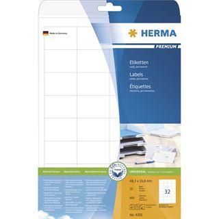 Herma 4200 Premium Universal-Etiketten 4.83x3.38 cm (25 Blatt (800 Etiketten))