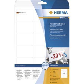 Herma 4203 ablösbar Universal-Etiketten 6.35x4.66 cm (25 Blatt (450 Etiketten))
