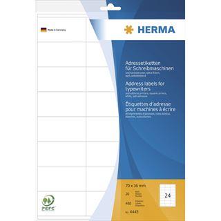 Herma 4443 Adressetiketten für Schreibmaschinen 21.0x29.7 cm (20 Blatt (480 Etiketten))