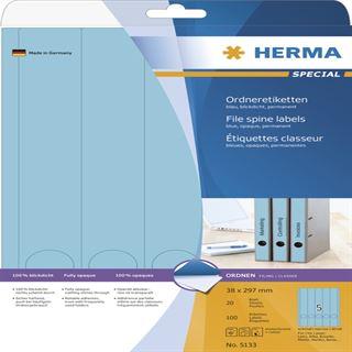 Herma 5133 blickdicht blau Ordneretiketten 3.8x29.7 cm (20 Blatt (100 Etiketten))