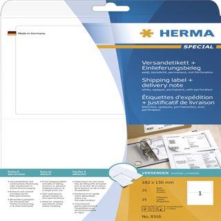 Herma 8316 blickdicht Versand-Etiketten plus Einlieferungsbeleg 18.2x13 cm (25 Blatt (25 Etiketten))