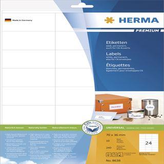 Herma 8638 Premium Universal-Etiketten 7x1.69 cm (10 Blatt (240 Etiketten))